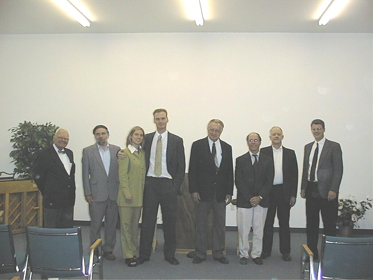 Participants.jpg - Participants in the service (Al Edwards, Bruce Long, Rebecca and Martin Emmrich, Richard Venema, Dr. Bob Martin, T.C. Wilson, and Jack Bradley), July 27, 2003